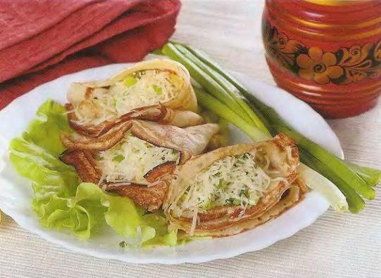 Блины с сыром и луком.