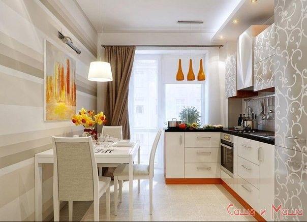 светлая мебель в маленькой кухне
