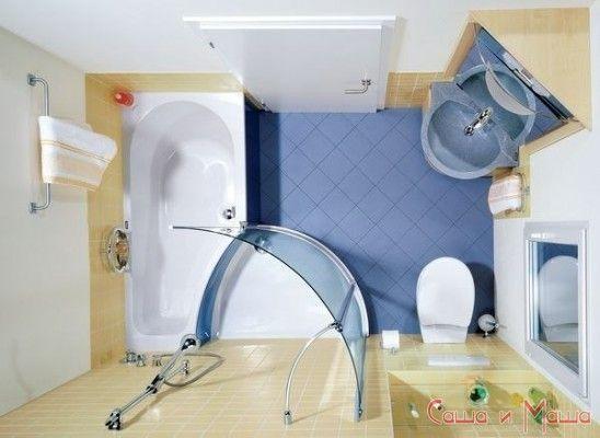 Интерьер маленькой ванной комнаты пример