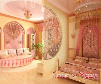 красивый восточный интерьер розового цвета фото