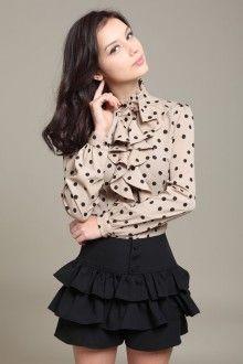 блузка в горошек с юбкой мини