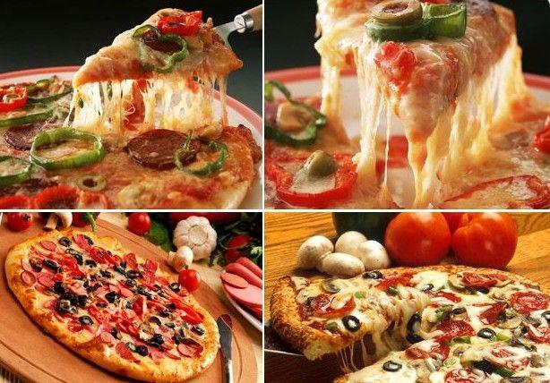 вкусная пицца с сыром, оливками и помидорами