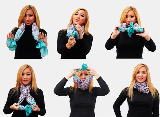Как завязать шарф на шее. Как модно завязать шарф