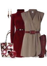 Серое платье и аксессуары к нему для женщин цветотипа