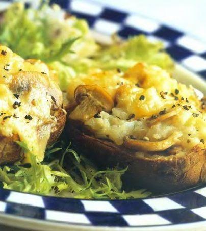 Картофель, запеченный с грибами и сыром.