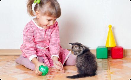 девочка играет с котенком