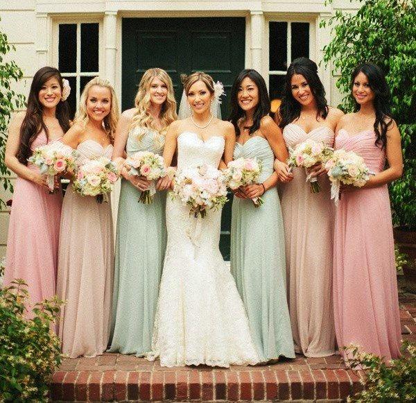 Мятные платья на свадьбу