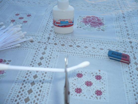 обрезаем ватные палочки