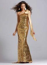 Золотое платье с одной бретелей