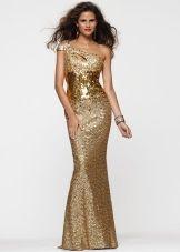 Платье с одной бретелей золотого цвета