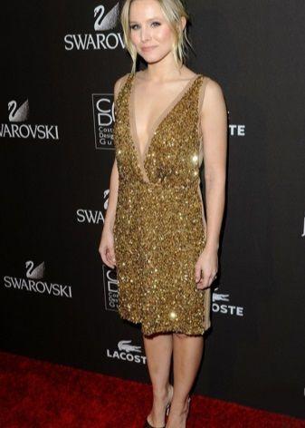 Золотое платье длинны миди