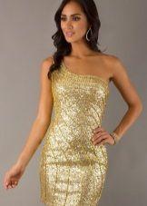 Короткое золотое платье