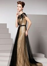 Черно-золотое вечернее платье
