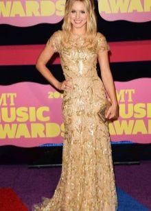 Кристен Белл в золотом платье