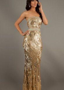 Бюстье - платье без бретелей золотого цвета