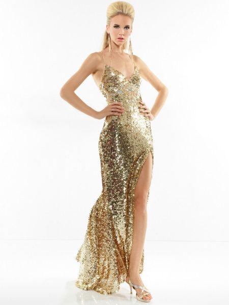 Золотое платье с тонкими бретелями