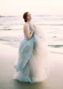 Салатневое свадебное пляжное платье