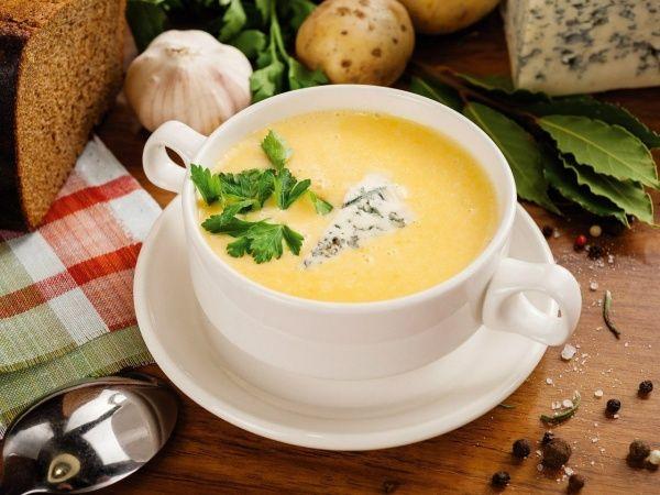 Рецепт супа-пюре с сыром и курицей