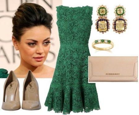 золотые украшения к зеленому платью