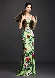 Меховой шарф к зеленому платью