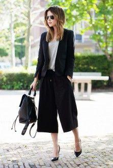 юбка-брюки и пиджак с рюкзаком