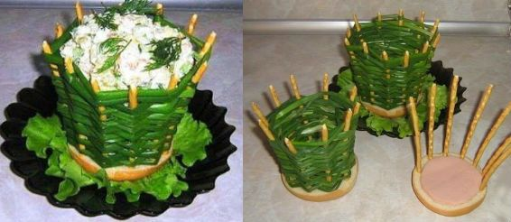 салат в съедобной мисочке