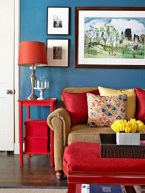 Синие обои в дизайне интерьера