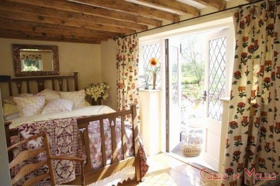 Стиль кантри в интерьере дома в спальне