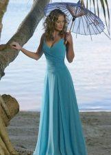 Синее свадебное пляжное платье