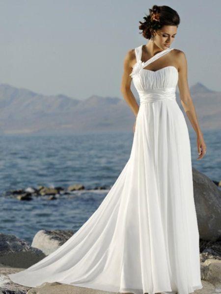 Свадебное платье ампир для пляжной церемонии