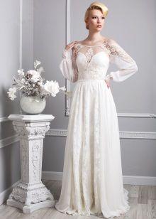 Свадебное платье в стиле Прованс с длинным прозрачным рукавом