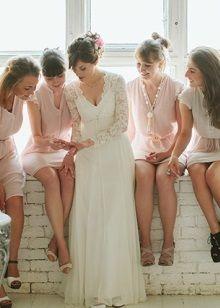 Свадебное платье в стиле Прованс с прозрачным длинным рукавом