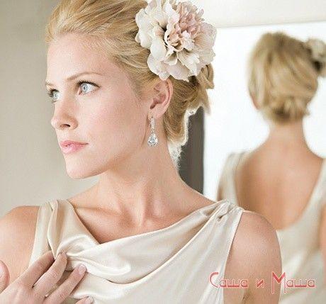 прическа невесте на короткие волосы