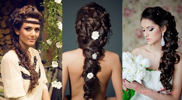 красивая прическа невесте на длинные волосы