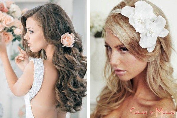 свадебная греческая прическа с распущенными волосами