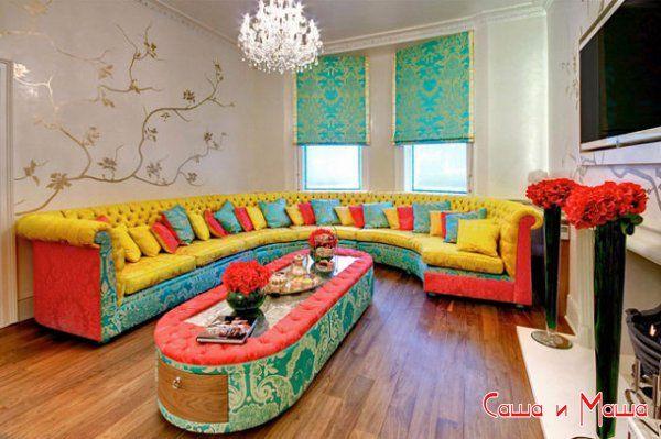 текстиль в интерьере зала