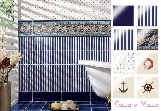 синий цвет в ванной в морском стиле