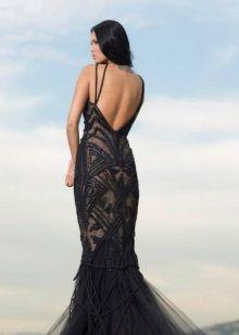 Вечернее платье русалка с открытой спиной