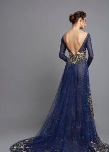 Синее платье вечернее с открытой спиной