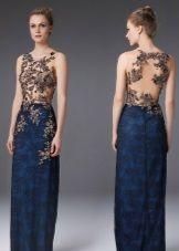 Вечернее платье с иллюзией обнаженной спины