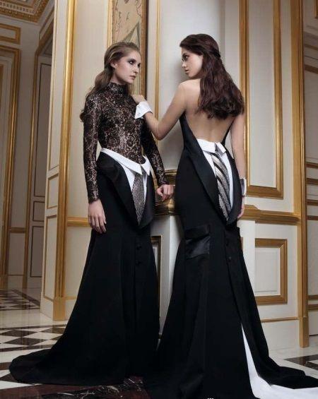 Платье вечернее с полностью открытой спиной бело-черное