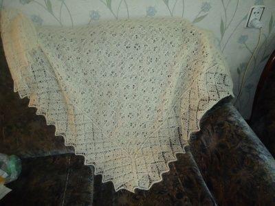 Вяжем оренбургский пуховый платок спицами