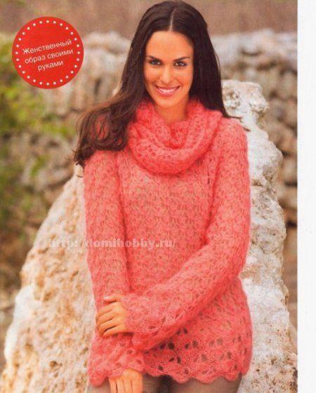 Воздушный пуловер крючком