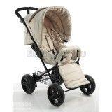 Светлая прогулочная коляска с большими колёсами для девочки