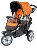 Светлая прогулочная коляска с большими колёсами оранжевая