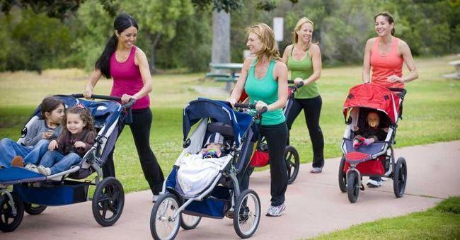 разные детские коляски на прогулке